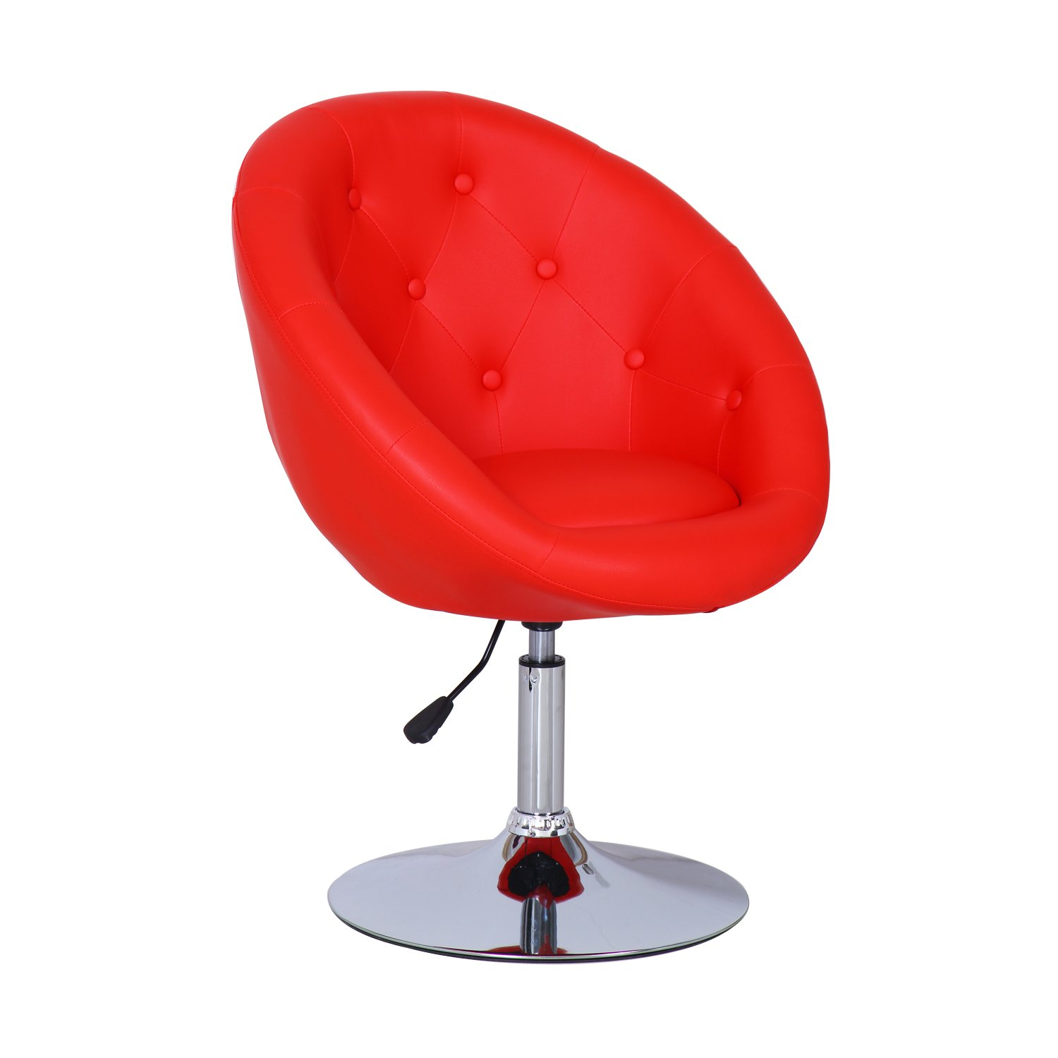 Gentil Amazon.com: Adeco Cushioned Leatherette Adjustable Barstool Chair Chrome  Finish Pedestal Base, Red: Kitchen U0026 Dining