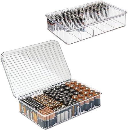 mDesign Juego de 2 Cajas apilables para baterías y Cargadores – Caja para Pilas AA, AAA y Otros Tipos de Pilas – Fantástico Organizador de Oficina y Garaje – Transparente: Amazon.es: Hogar