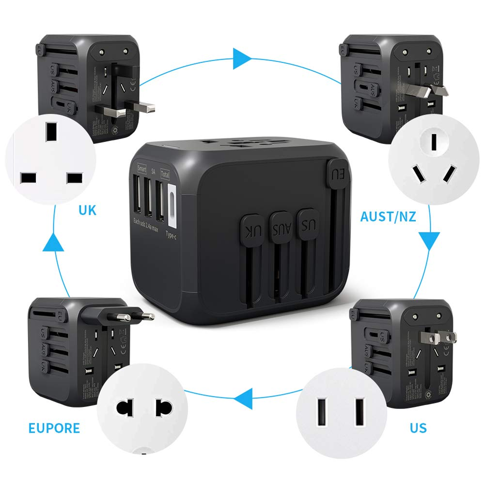 International Travel Adapter with Auto Resetting Fuse Universal Power Adapters 4 USB and Type C Ports Worldwide All in One Plugs Converter with AC ...