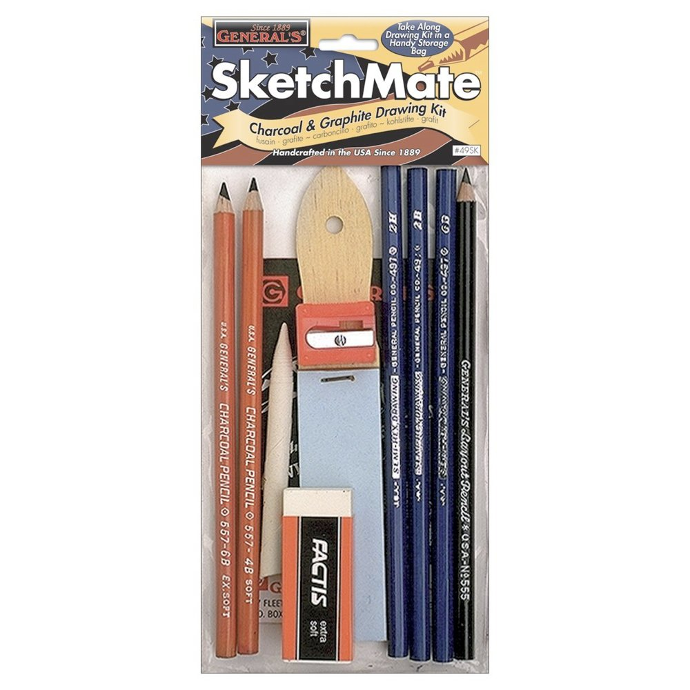 SketchMate Graphite & Charcoal Drawing Kit & Accessories General Pencil Company 49SK