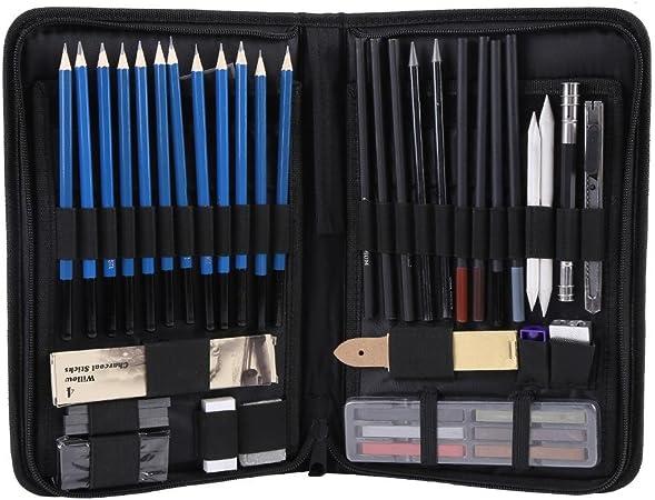 48PCS Kit de dibujo de dibujo profesional Lápices de pintura HB en bolsa con cremallera para adultos y niños: Amazon.es: Hogar