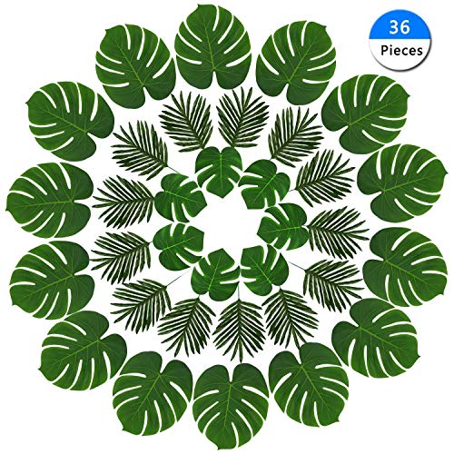 Vanten 36 Pieces Artificial Palm Tropical Leaves, 3 Kinds Monstera Plant Leaves Tropical Party Decor Simulation Leaf for Hawaiian Luau Jungle Beach Party Artificial Plant Table Decorations