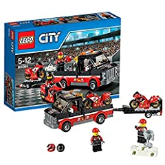 The LEGO City motorbike race team is heading to the stadium for the final race of the motorbike championships! Join the ace riders aboard the awesome Racing Bike Transporter together with their high-speed race bikes. When you arrive at the st...