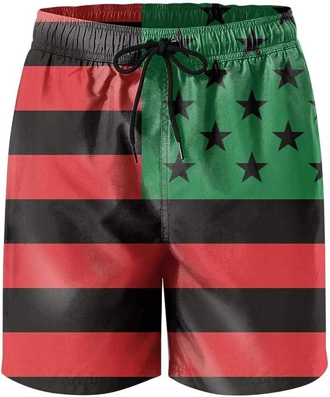 Mens Swim Trunks African American Flag Surf Beach Shorts Cargo Short Pants