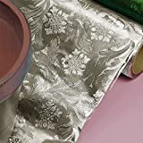 Premium Floral Foil Wrapping Paper - 20 Inches By 10 Yards (Silver)