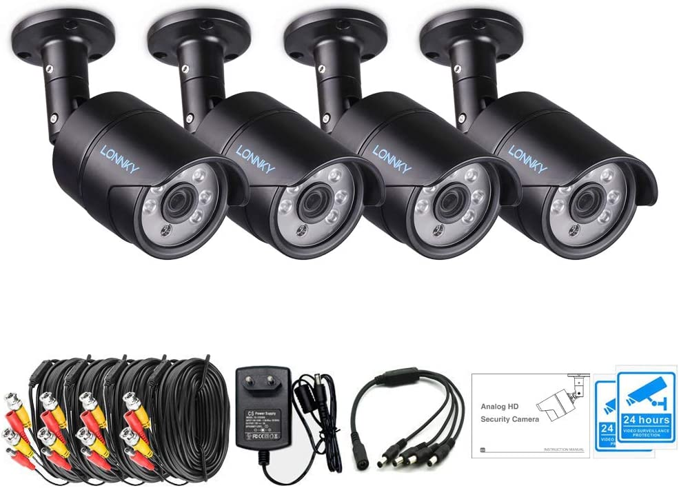 LONNKY 4 Pack 1080p Outdoor Indoor Day Night Vision Weatherproof 6pcs IR Infrared LEDs Security Cameras Kits, 120ft IR Distance,Aluminum Metal Housing Black