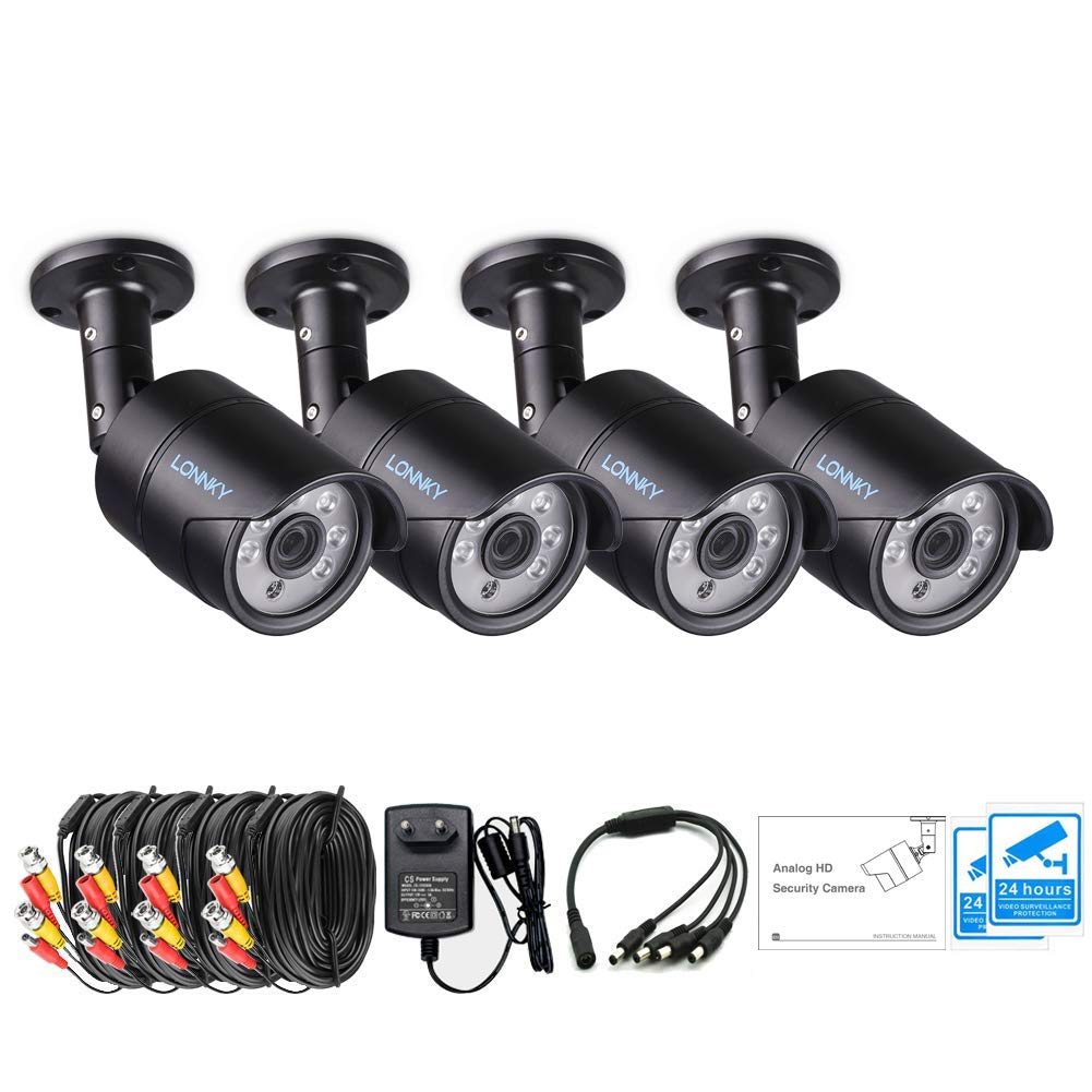 LONNKY 4 Pack 1080p Outdoor Indoor Day Night Vision Weatherproof 6pcs IR Infrared LEDs Security Cameras Kits, 120ft IR Distance, Aluminum Metal Housing