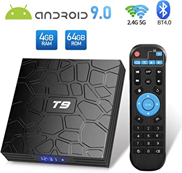 Sidiwen Android 9.0 TV Box T9 4GB Ram 64GB ROM RK3328 Quad-Core Cortex-A53 2.4GHz 5.0GHz WiFi Bluetooth 4.0 Ethernet USB 3.0 Soporte 3D 4K2K Ultra HD H.265 Smart Set Top Set: Amazon.es: