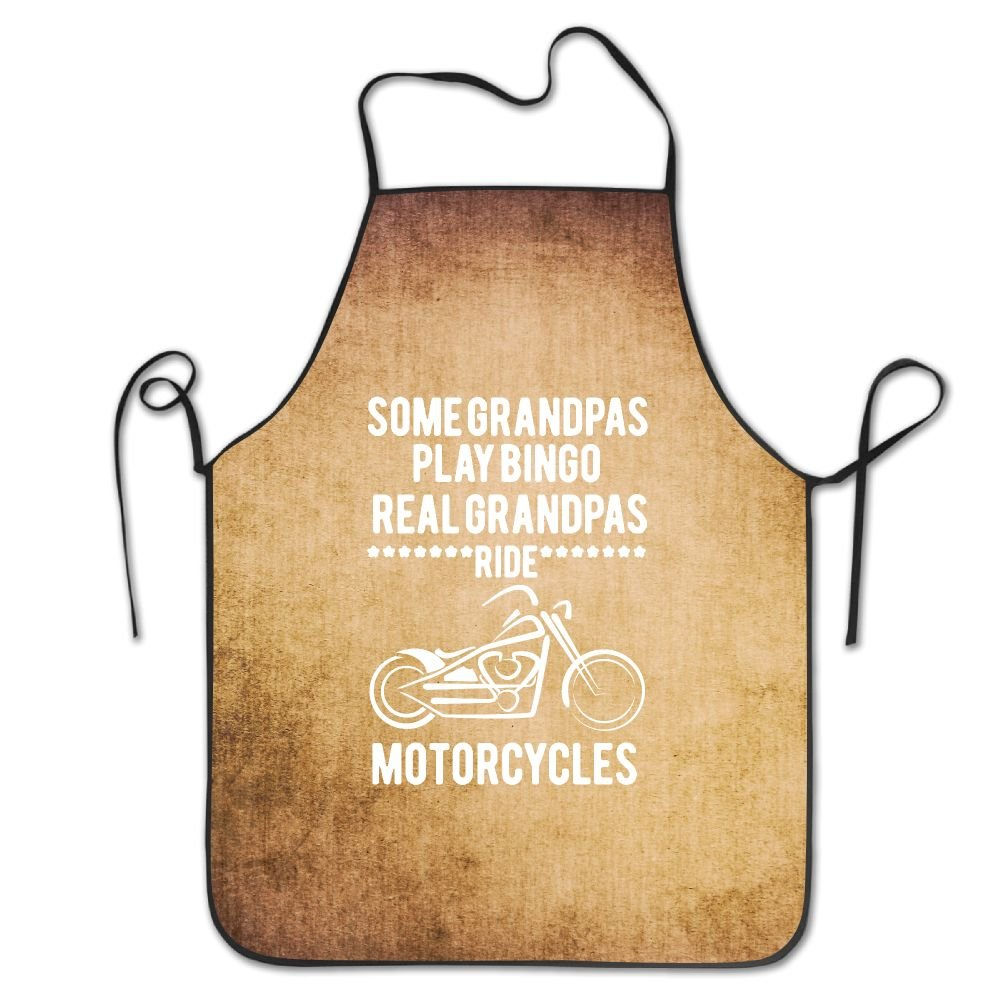 Some Grandpa's Play Bingo Real Grandpa's Ride Motorcycles Black Bib Kitchen Apron Cooking Apron Chef Aprons Apron For Women And Men