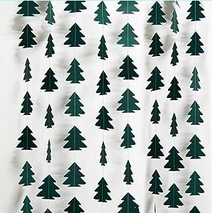 Cheerland Evergreen Dark Green Christmas Tree Garland Kit for Xmas Home Party Decoration Hanging Streamer Backdrop Xmas Tree Garland Decor for Living Room Mantle Window Doorway