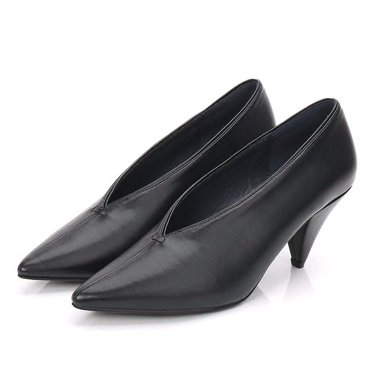 HBDLH Damenschuhe Hexe Schuhe Mit Hohen Hohen Hohen 6 cm Scharf Darauf V Mund Nahen Hochhackigen Schuhe Oma Fashion Street Pads Einzelne Schuhe. 016b5e