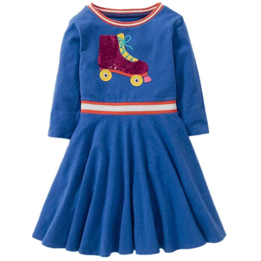 Little Girls Cotton Dress Short Sleeves Casual Summer Butterfly Striped Dress