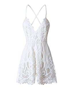 ezShe Women's Sexy V Neck Backless White Lace Shorts Jumpsuit Romper, White XS