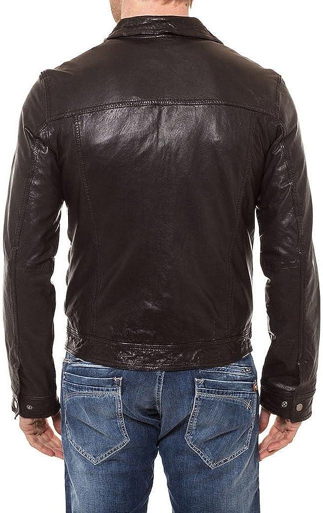 Pristine Leather Mens Slim Lambskin Leather Motorcycle Biker Overcoat
