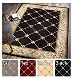 "Cheap Patrician Trellis Black French European Formal Traditional 8×11 8×10 (7'10"" x 10'6″ Area Rug Easy to Clean Stain Fade Resistant Shed Free Contemporary Floral Thick Soft Plush Living Dining Room Rug"