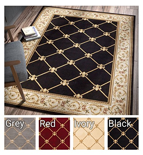 Patrician Trellis Black Lattice Area Rug European French Formal Traditional Area Rug 7' x 9' Easy Clean Stain Fade Resistant Shed Free Modern Classic Contemporary Thick Soft Plush Living Dining Room