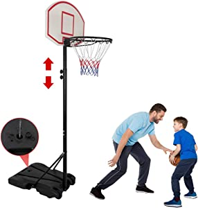Nova Microdermabrasion Kids Portable Height Adjustable Basketball Hoop Stand, 28 Inch Backboard, Basketball Goals Indoor/Outdoor