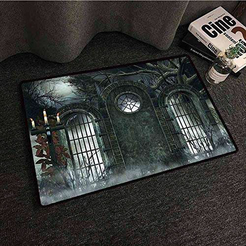 Horror House Decor Interesting Doormat Moon Halloween Ancient Historical Gate Gothic Background Candles Fiction View with Anti-Slip Support W35 xL47 Hunter Green