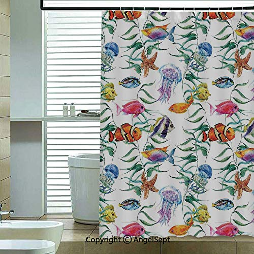 - Printed Shower Curtains,Tropical-Coral-Reef-with-Seaweed-Algae-Jellyfish-Aquatic-Saltwater-Nemo-Theme,70.8x72 inch,12 Hooks Bath Curtain Bathroom Decor,Multi
