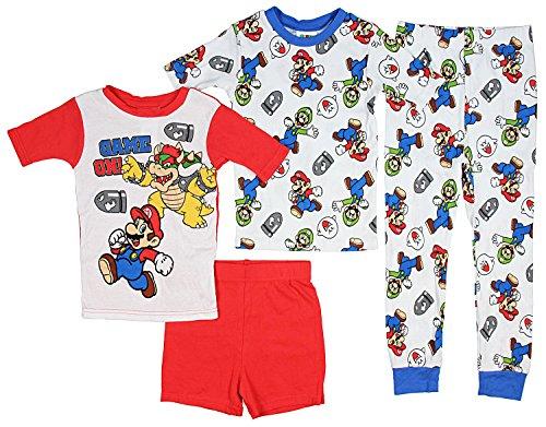 Super Mario Little/Big Boys Charcter Print 4-Piece Snug Fit Cotton Pajama Set