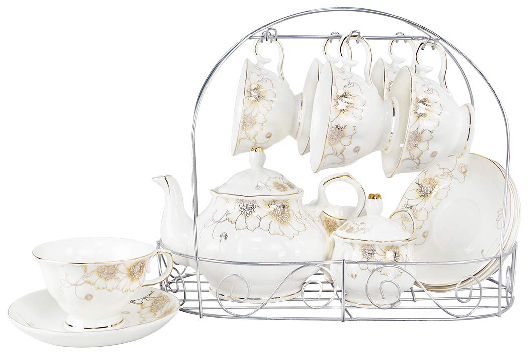 Porcelain Ceramic Coffee Tea Sets 15 Pieces with Metal Holder,Cups& Saucer Service for 6,with Teapot Sugar Bowl Cream Pitcher by CHP (Image #1)