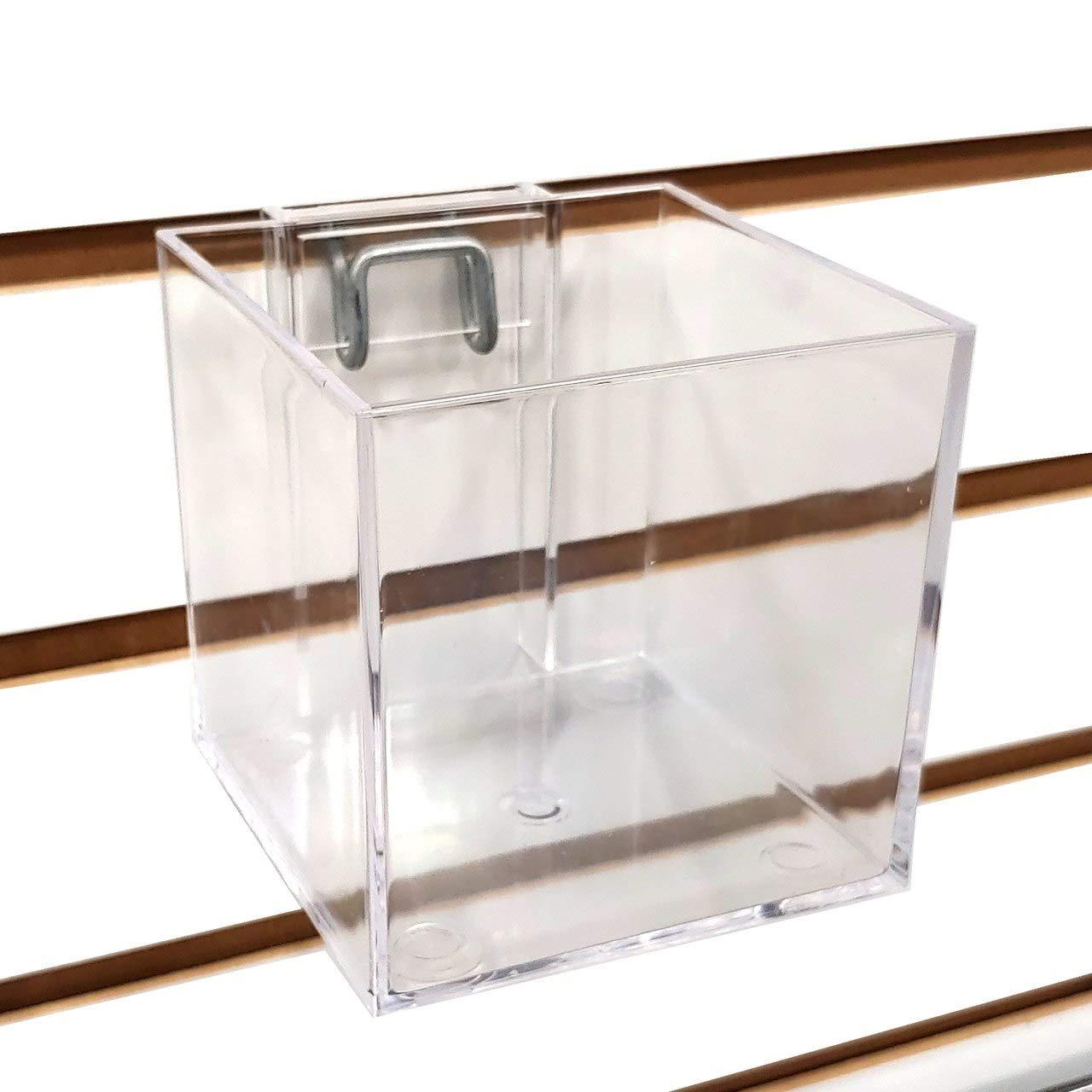 Slatwall & Pegboard 4'' Clear Acrylic Cube Dump Bin Display, 5 Pack