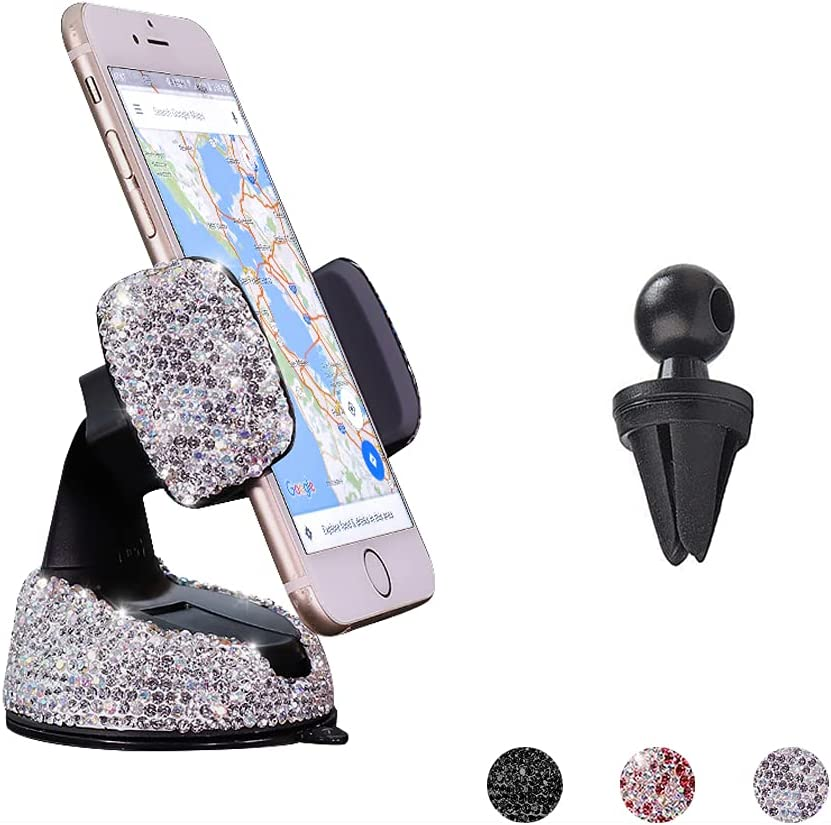 Bling Car Phone Holder, SUNCARACCL 360°Adjustable Crystal Auto Phone Mount Universal Rhinestone Car Stand Phone Holder Car Accessories for Windshield Dashboard and Air Outlet (White)