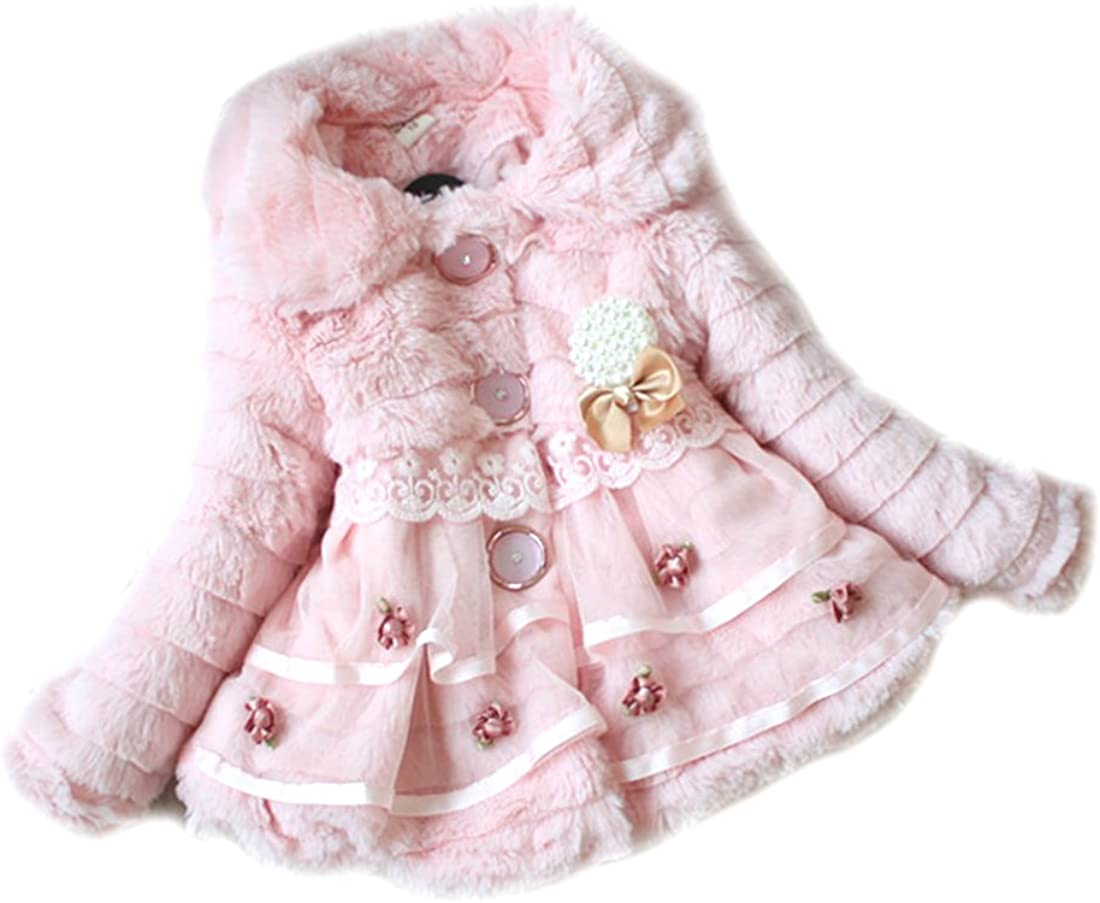 SOPO Baby Girl Winter Coat Faux Fur with Pearl Flower Jacket Pink 2t 4t 3t 5