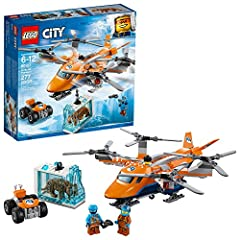 Carry precious items with the LEGO City 60193 Arctic Air Transport vehicle, featuring a heavy-duty quadrocopter with 4 spinning rotors, ski landing gear, opening minifigure cockpit and a functioning winch with rope and hook. This fun Arctic E...
