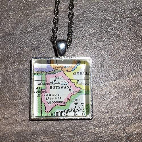 Gaborone MAUN Botswana Africa Map Square Pendant Silver Necklace VNTG Atlas -
