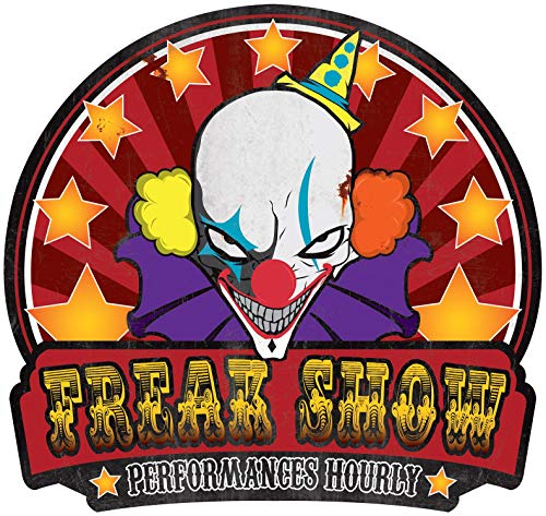 Freak Show Sign Metal Halloween Twisted Circus Carnival Decoration Horror Prop -
