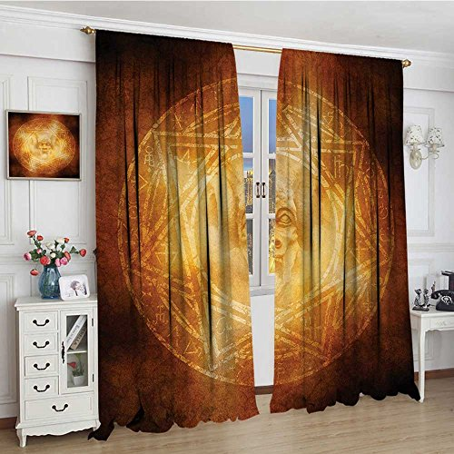 smallbeefly Horror House Thermal Insulating Blackout Curtain Demon Trap Symbol Logo Ceremony Creepy Scary Ritual Fantasy Paranormal Design Patterned Drape For Glass Door 72''x96'' Orange by smallbeefly