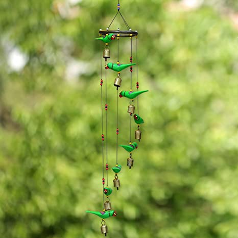 ExclusiveLane Parrot Home Decorative Hanging Cum Outdoor Garden Bells Wind Chime (Green, Wood)