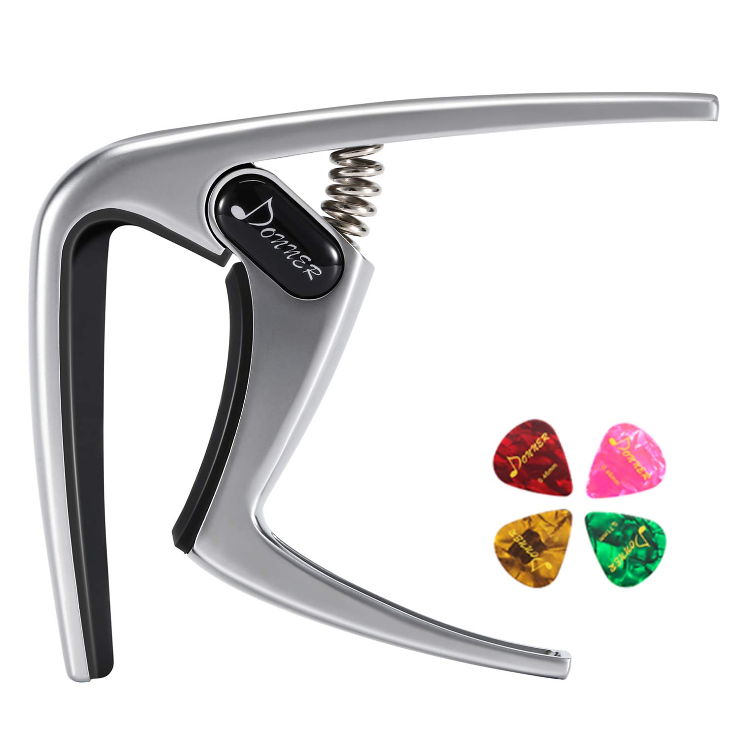 Donner DC-2 Quick Change Black Guitar Capo Easy Use for Electric and Acoustic Guitars, Ukulele Banjo, Folk Guitars and Mandolin