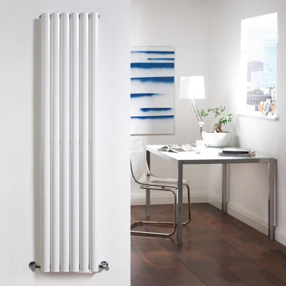 Hudson Reed Revive Radiador Calentador Mural Diseño Vertical En Acero Blanco Elementos