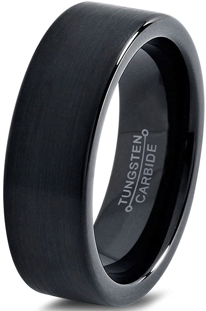 Tungsten Wedding Band Ring 4mm for Men Women Comfort Fit Black Enamel Pipe Cut Brushed Charming Jewelers CJCDN-1777