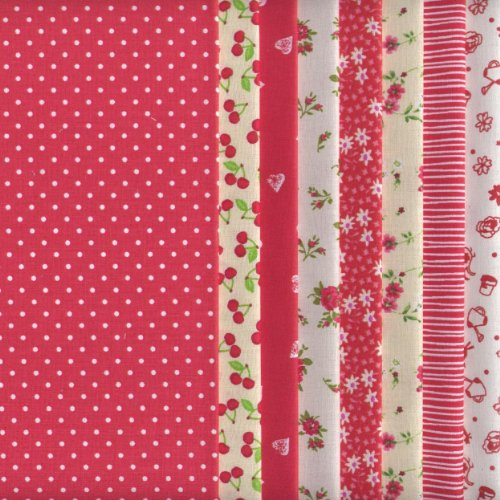 8 Fat Quarters Set Red Co-ordinating French Fabric Mini Designs 100% Cotton by Textiles fran?ais
