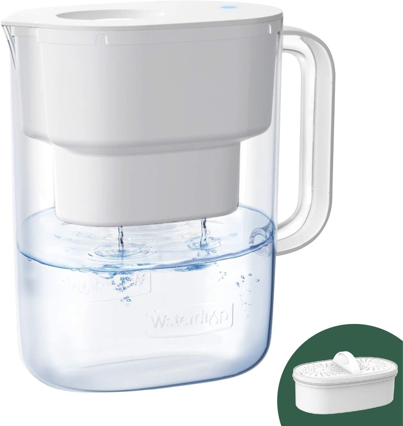 Waterdrop 10-Cup Water Filter Pitcher with 1 Filter, Long-Lasting (200 gallons), 5X Times Lifetime Filtration Jug, Reduces Lead, Fluoride, Chlorine and More, BPA Free, White, Model: WD-PT-07W