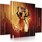 Feeby. Multipart Canvas - 5 panels - Wall Art Picture, Image Printed on Canvas, 5 parts, Type B, 150x100 cm, AFRICA, WOMAN, JUGS, BROWN, ORANGE