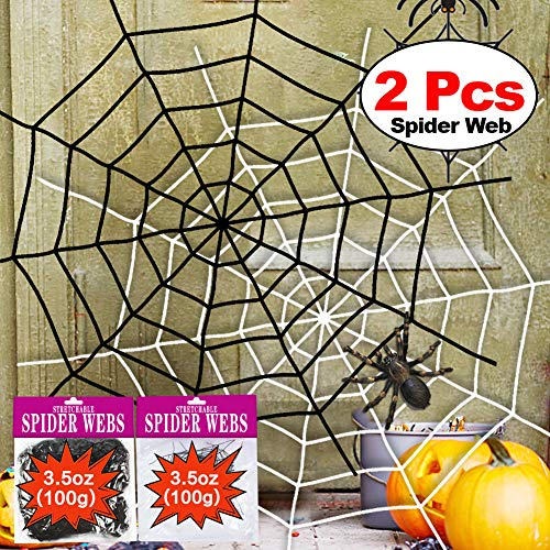(Halloween Spider Web 2Pack 11 Feet Black White Giant Stretch Spider Web Set Round Fake Spider Web Creepy Decor Outdoor Indoor Yard Haunted House Home Halloween Decoration Party Favor Durable)