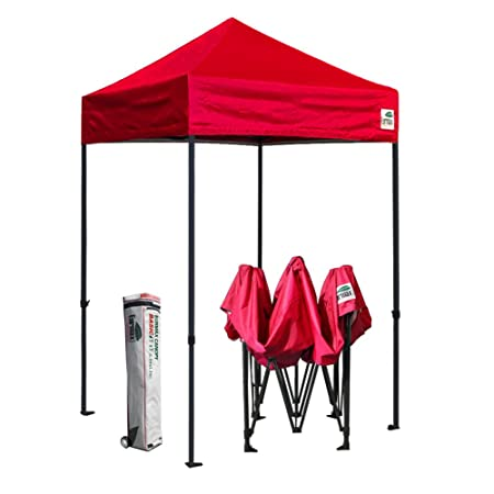 Eurmax 5×5 Ez Pop up Canopy Outdoor Heavy Duty Instant Tent Pop-up Canopy Shelter with Deluxe Wheeled Carry Bag Red