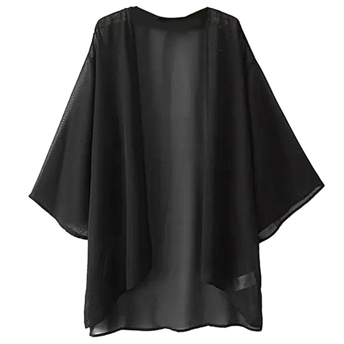 Hsumonre Women's Solid Loose Chiffon Sheer Cardigan Kimono Cover Ups Black