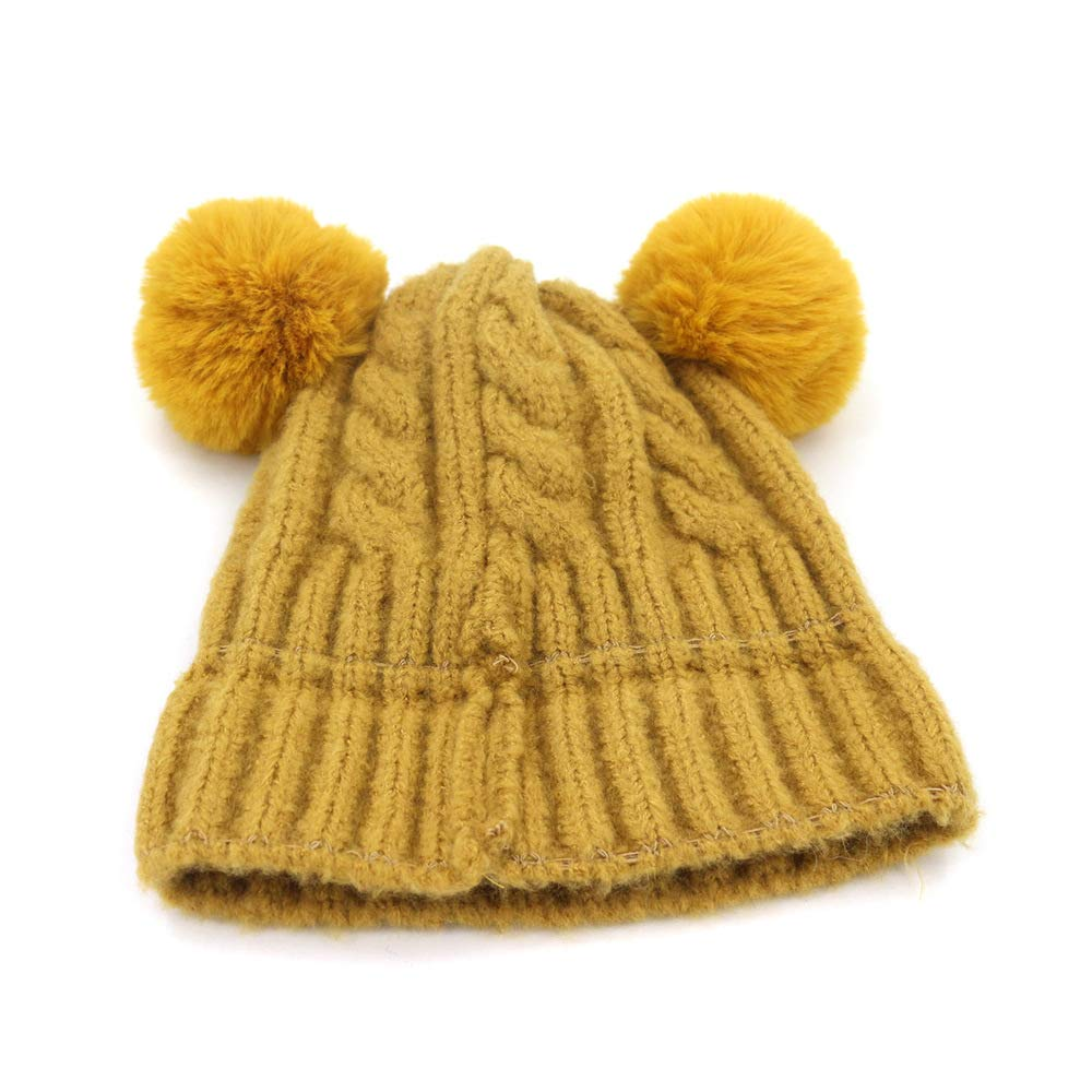 Ruiyue Baby Thickening Wool Hat Hair Ball Cap Infant Warm Warm Head Trend Cap for Children Color : 8, Size : 16cm//6.3in