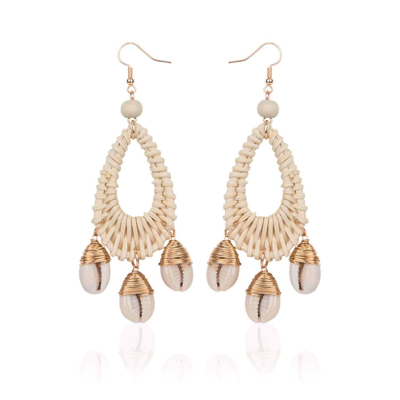 YOUSHU Oval Fashion Original Conch Earrings Explosion Shell Rattan Earrings Handmade Ocean Wind