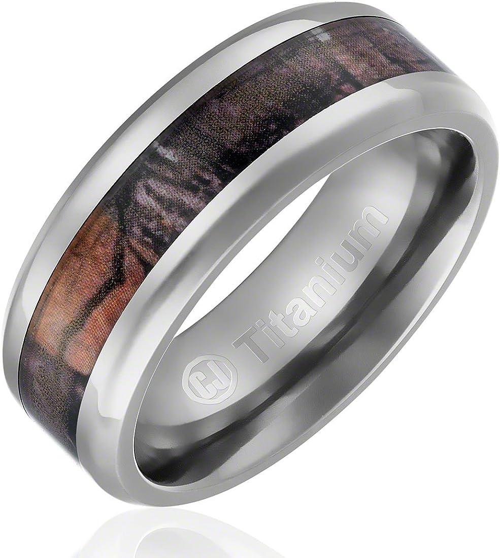 8MM Men's Titanium Ring Wedding Band | Camouflage Inlay | Beveled Edges