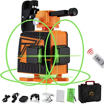 Ommo Laser Level Self Leveling 360 Cross Line Laser Level 12 Lines Green Laser Level With Pulse Mode Horizontal And Vertical 132ft Green Beam Laser Tool Kit Remote Controller Included Amazon Com