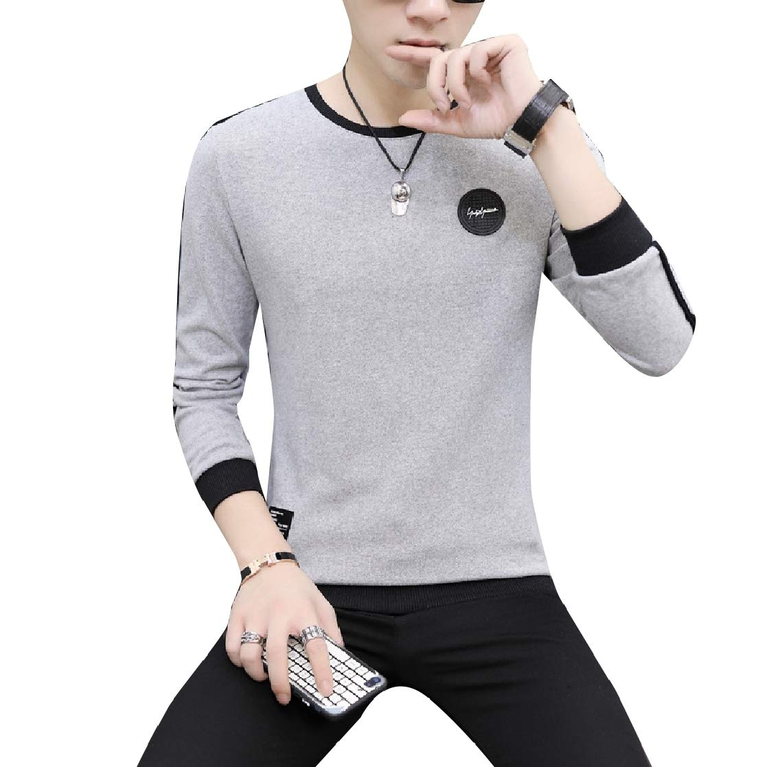 YUNY Mens O-Neck Soft Chic Comfort Leisure Oversize Shirts T-Shirt 8 M