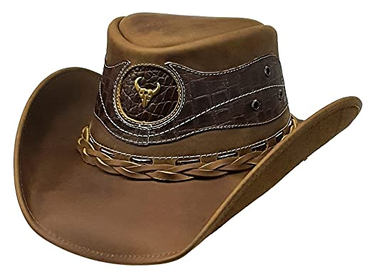 a49127963 Modestone Antiqued Leather Cowboy Hat Crocodile Skin Pattern ...