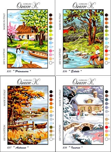 Needlepoint Kit Four Seasons 4 Pieces Measuring 9