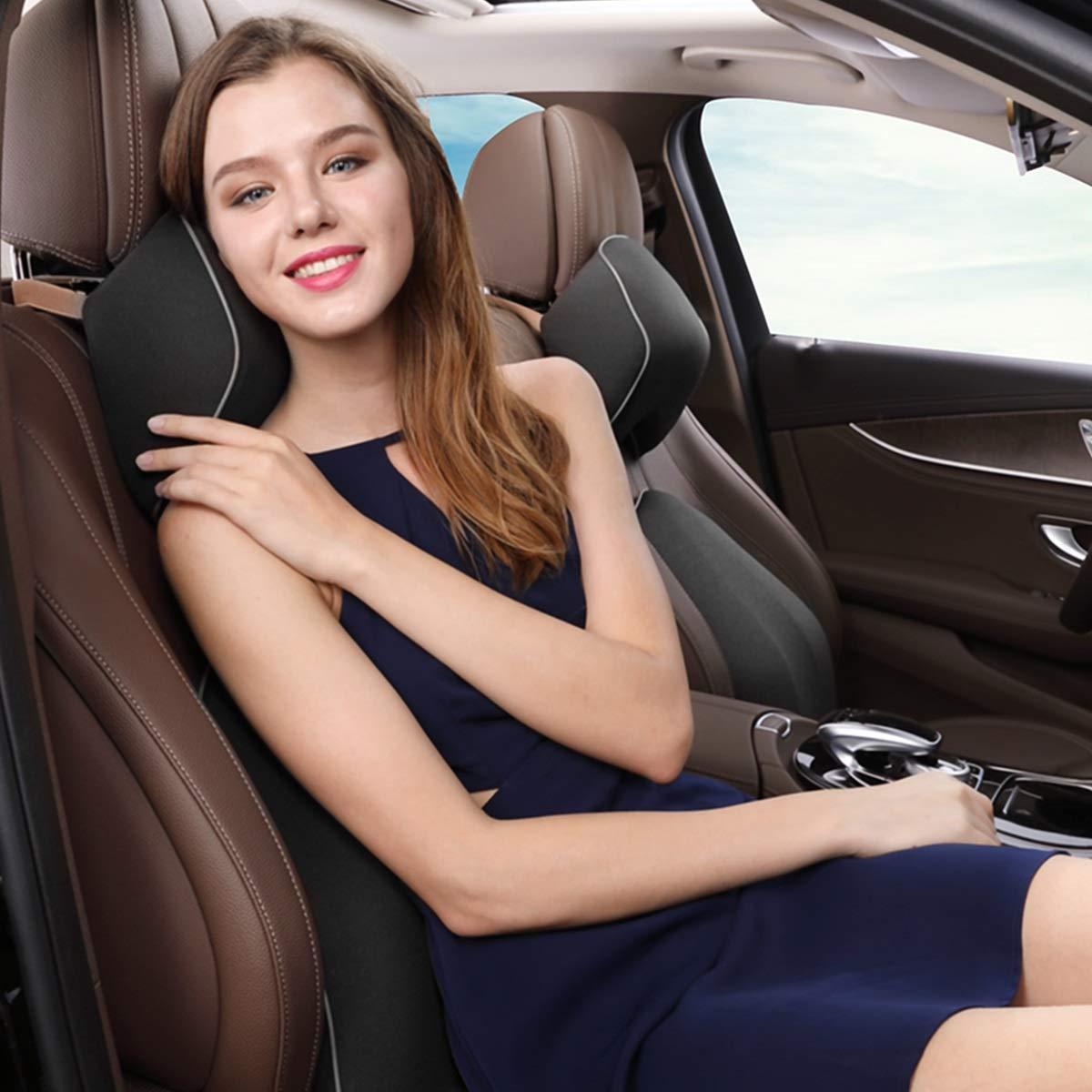 ZHENWOCAI Car Seat Headrest Pillow Space Memory Foam Neck Lumbar Waist Back Support Cushion New (Color : Black headrest)